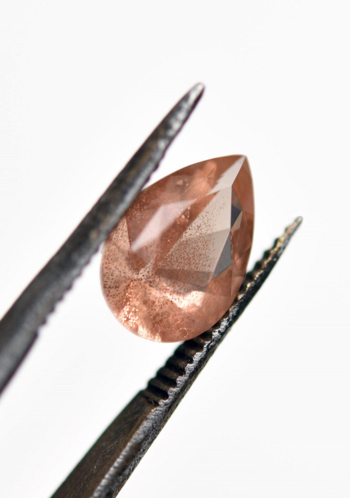Pear Schiller Sunstone for Custom Ring
