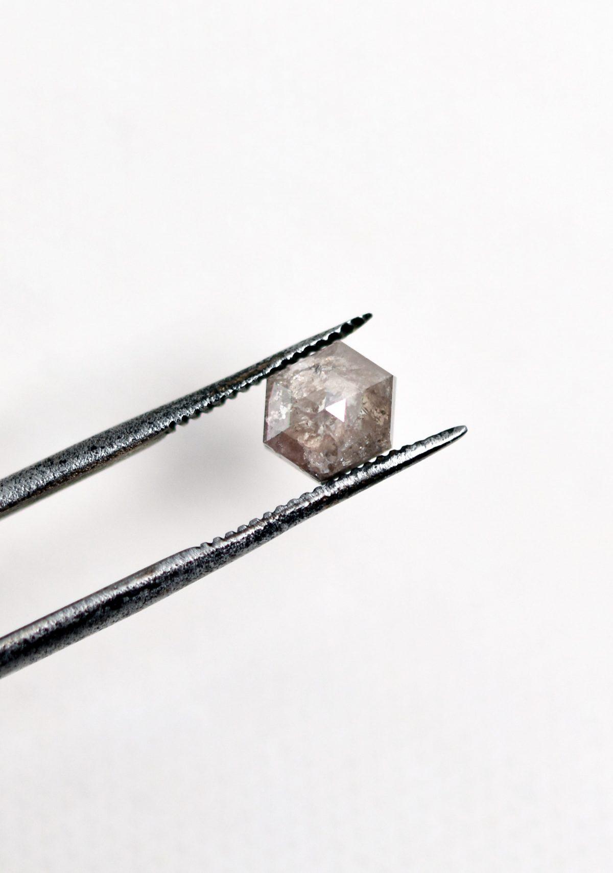 Hexagon Salt and Pepper Diamond for Custom Engagement Ring