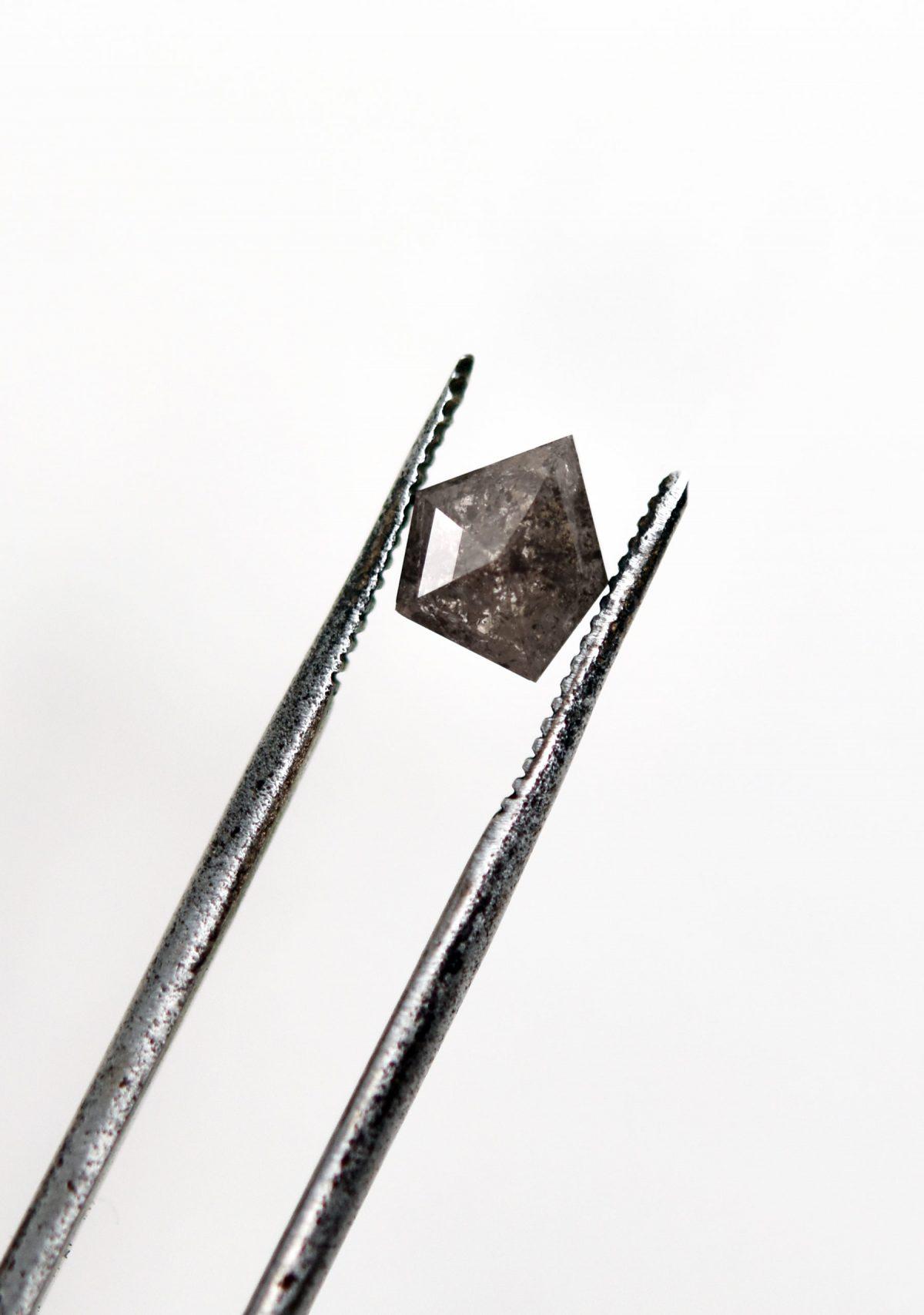 Shield Salt and Pepper Diamond for Custom Engagement Ring