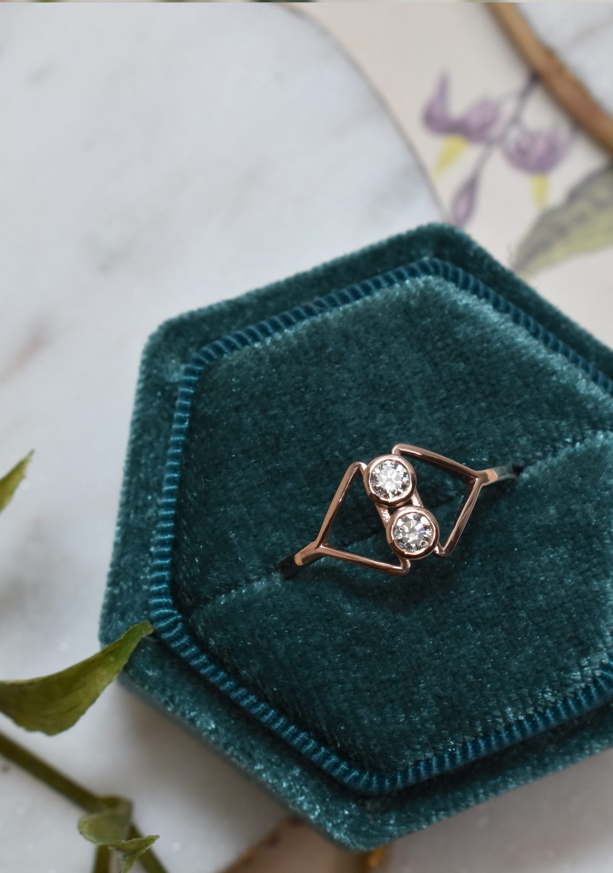 Cerie Double Diamond Rose Gold Ring Green Box