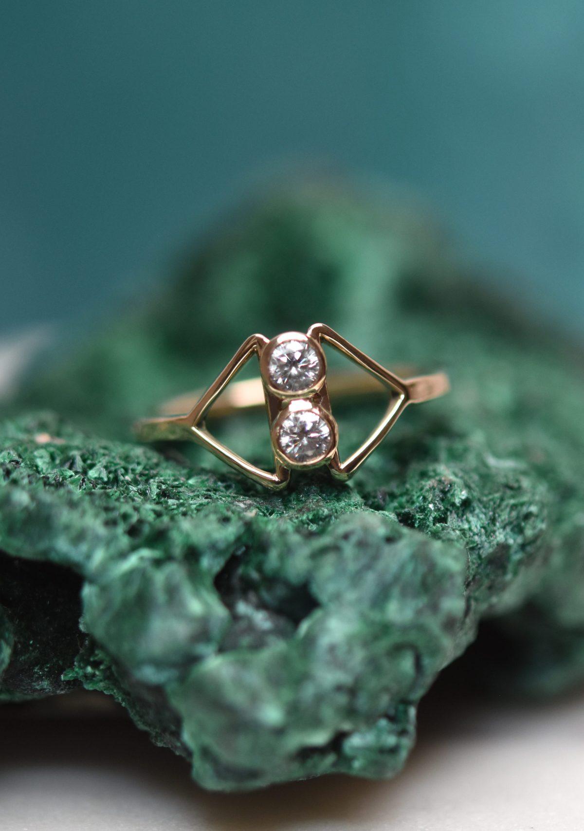 Geometric 10k Gold Diamond Ring