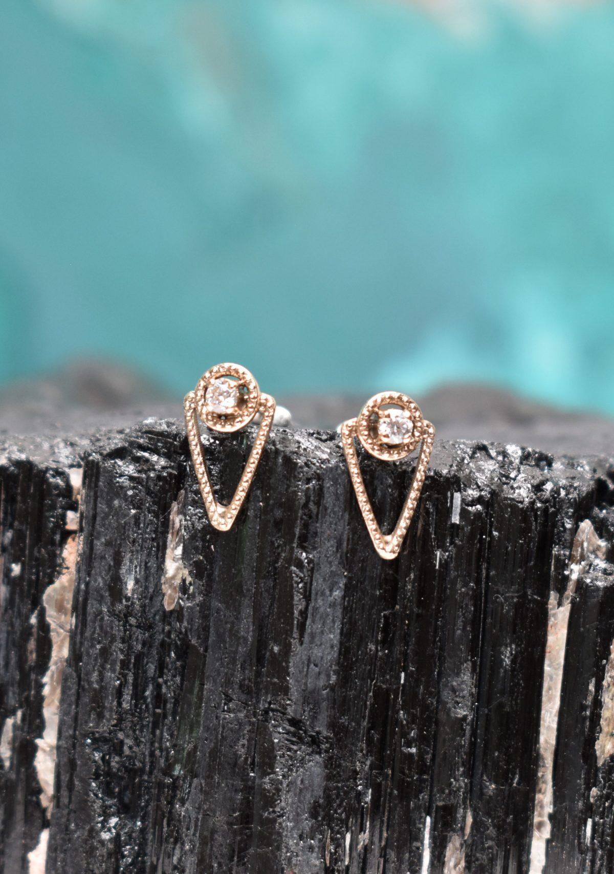 Mini Drop Earrings in 10k Gold and Moissanite