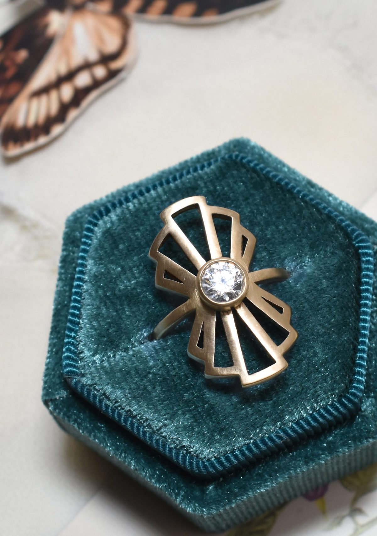 Saint K Eleanor Long Statement Ring with Diamond in 14k Gold