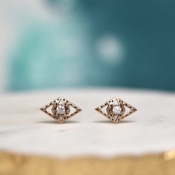 Saint K Gold Stud Diamond Earrings