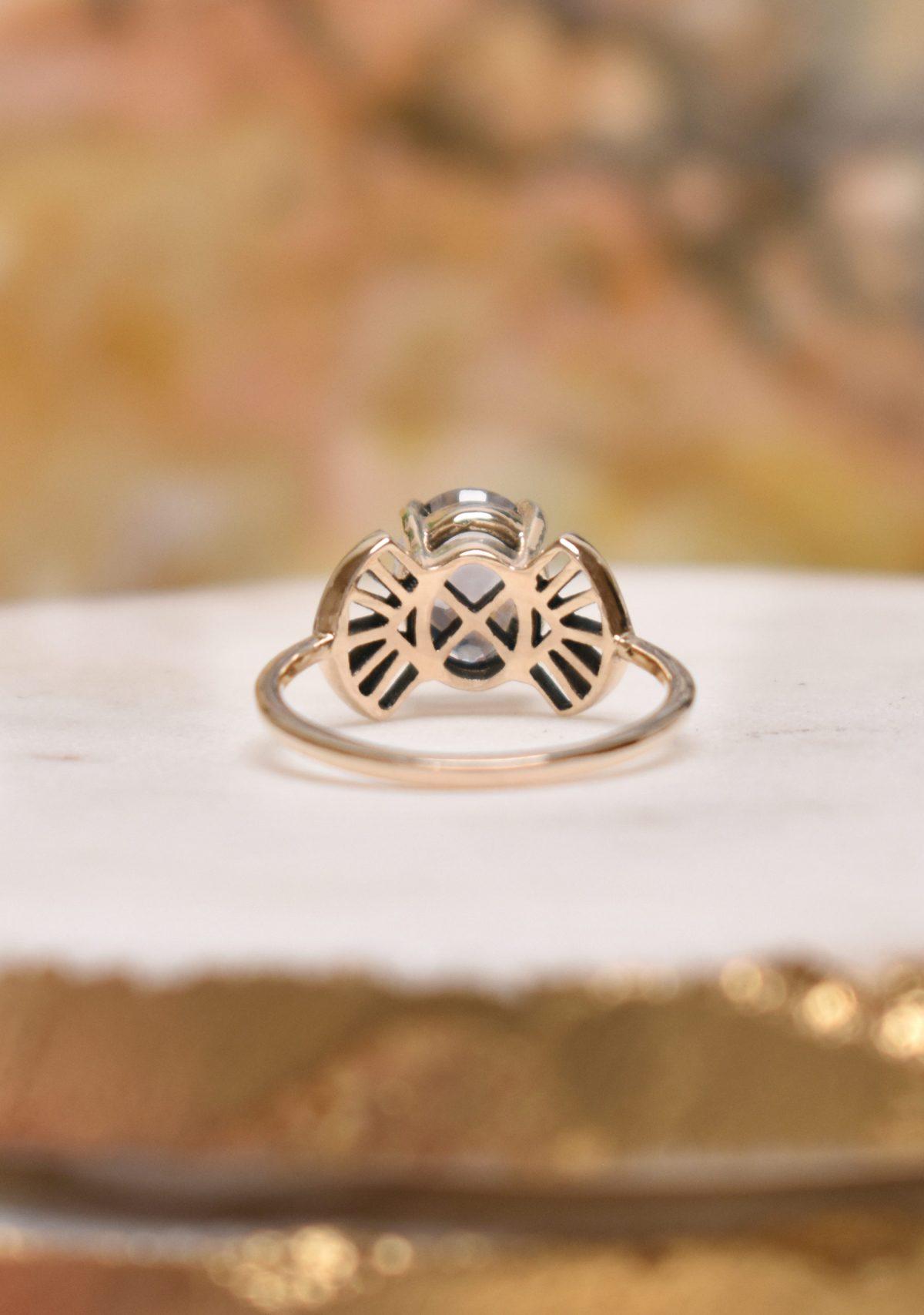 Art Deco Gemstone Alternative Engagement Ring
