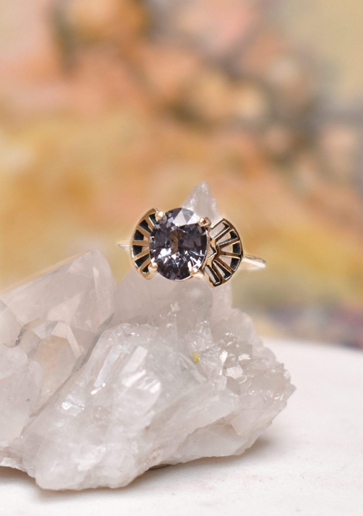 Art Deco Spinel Alternative Engagement Ring