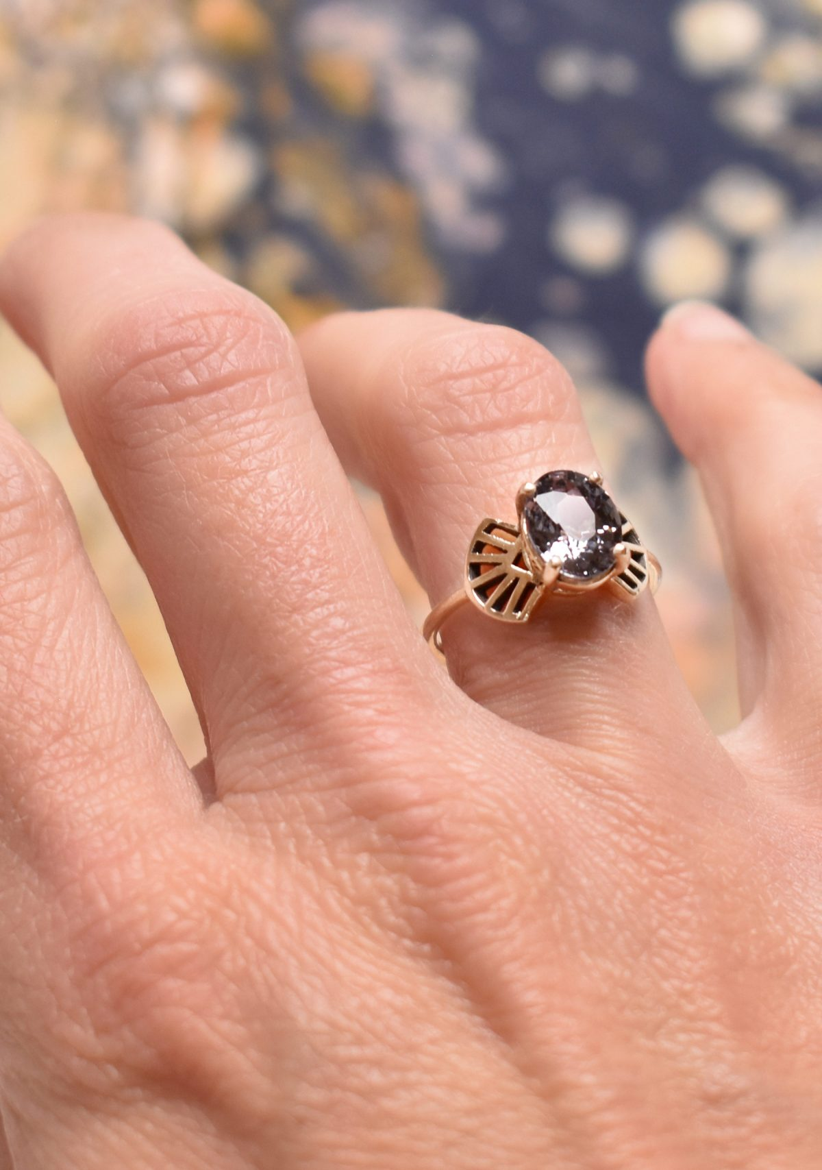 Art Deco Gemstone Alternative Engagement Ring Spinel