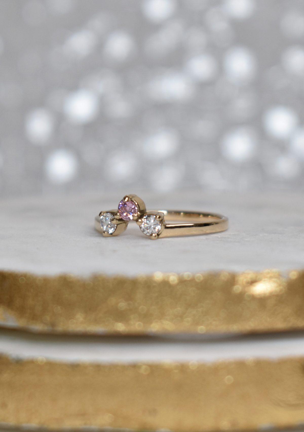 Pink Sapphire and Diamond 3-Stone Wedding Band