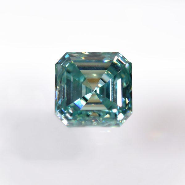 Asscher Cut Green Moissanite for Custom Engagement Ring