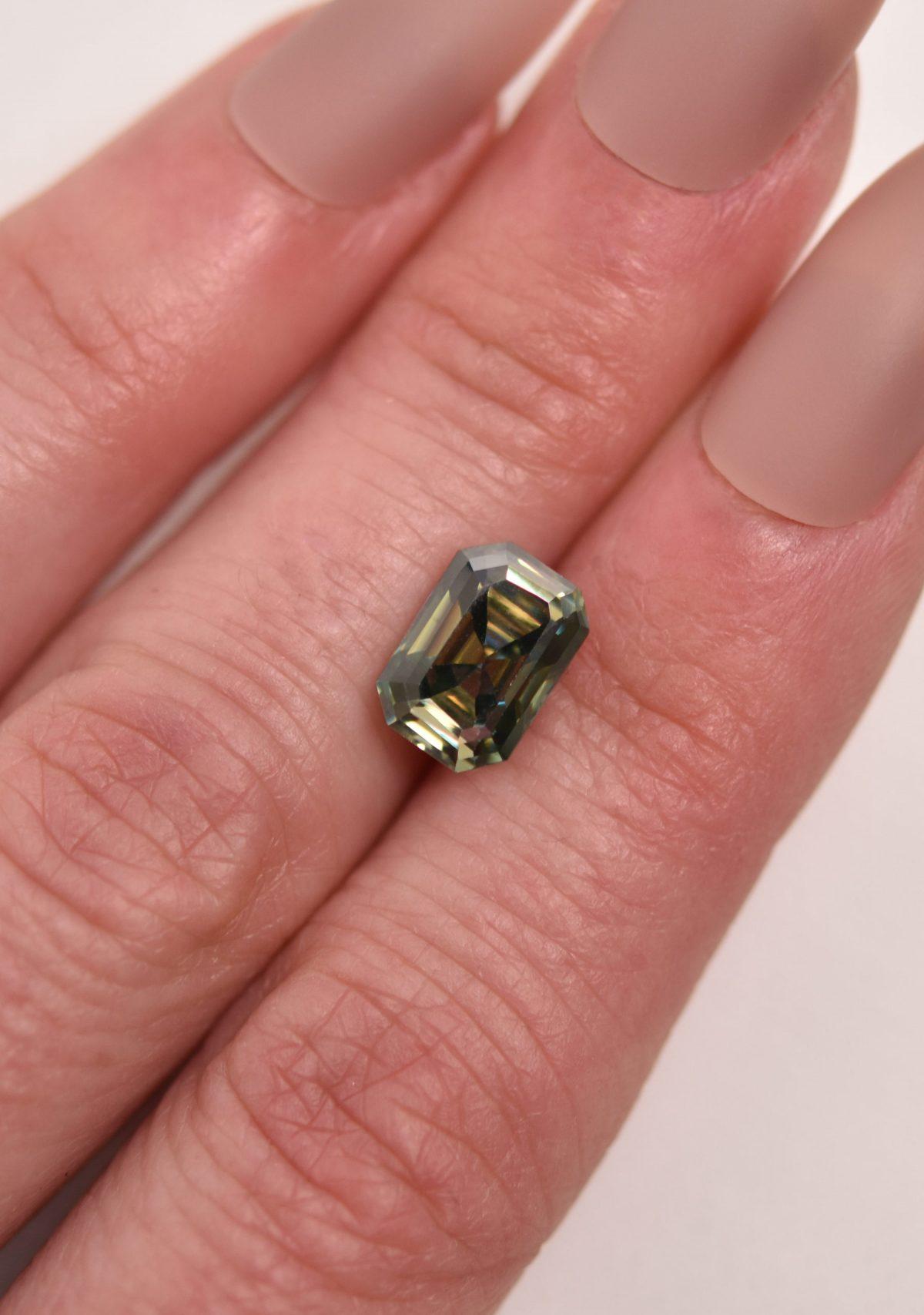 Emeral Cut Green Moissanite for Custom Engagement Ring