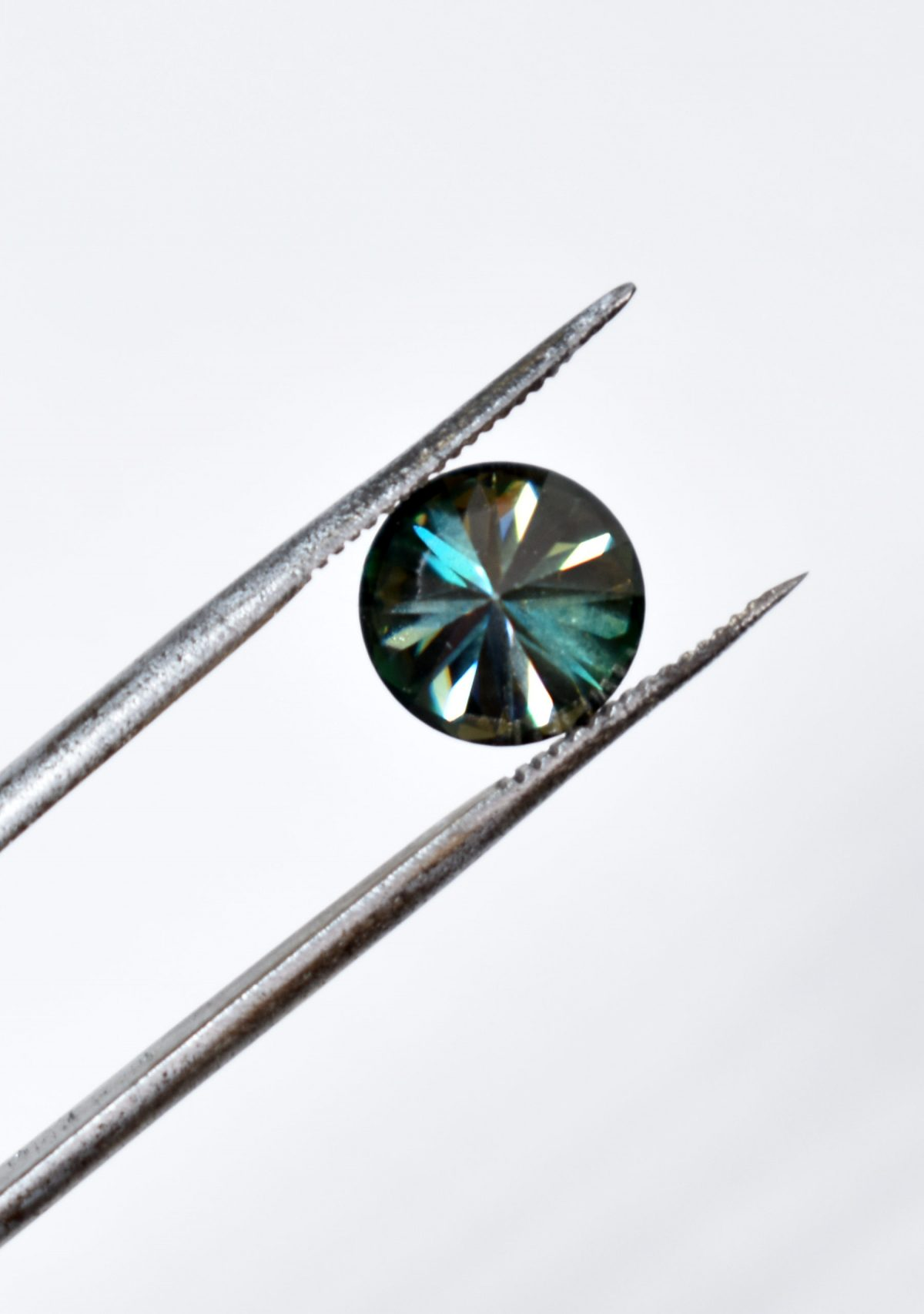 Round Brilliant Cut Green Moissanite for Custom Engagement Ring