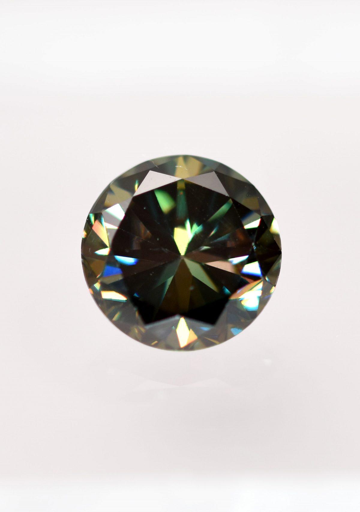Round Brilliant Dark Green Moissanite for Custom Engagement Ring