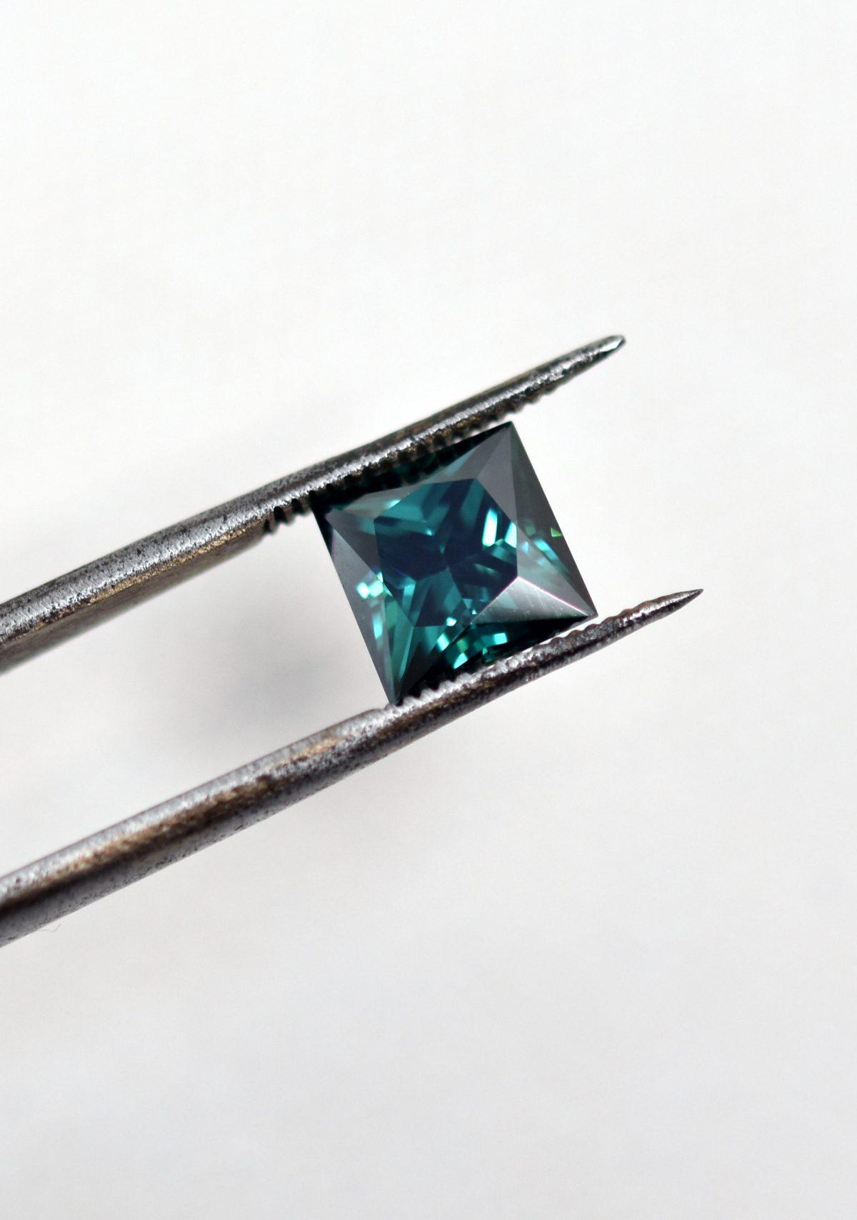 Princess Cut Green Moissanite for Custom Engagement Ring