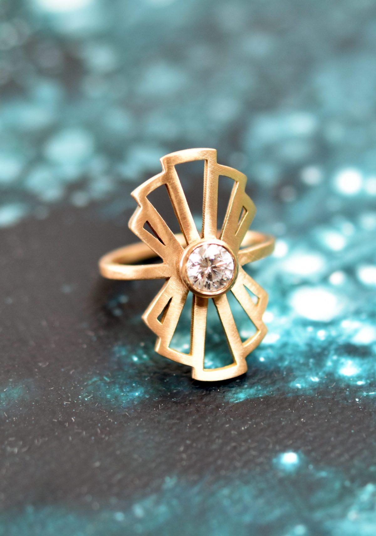 Art Deco Gold Moissanite Statement Ring