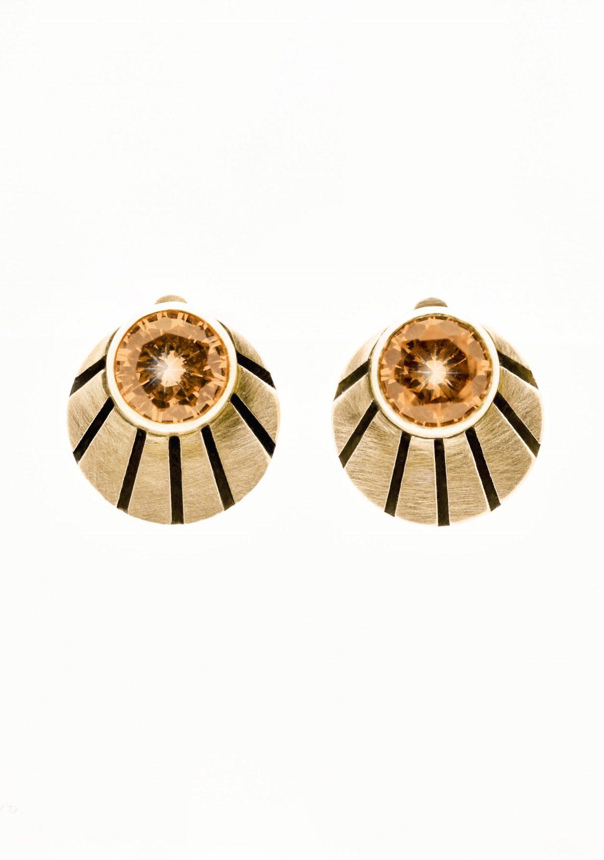 Art Deco Shell 14k Gold Earrings