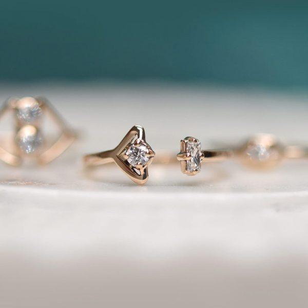 Gold Diamond Stacking Ring