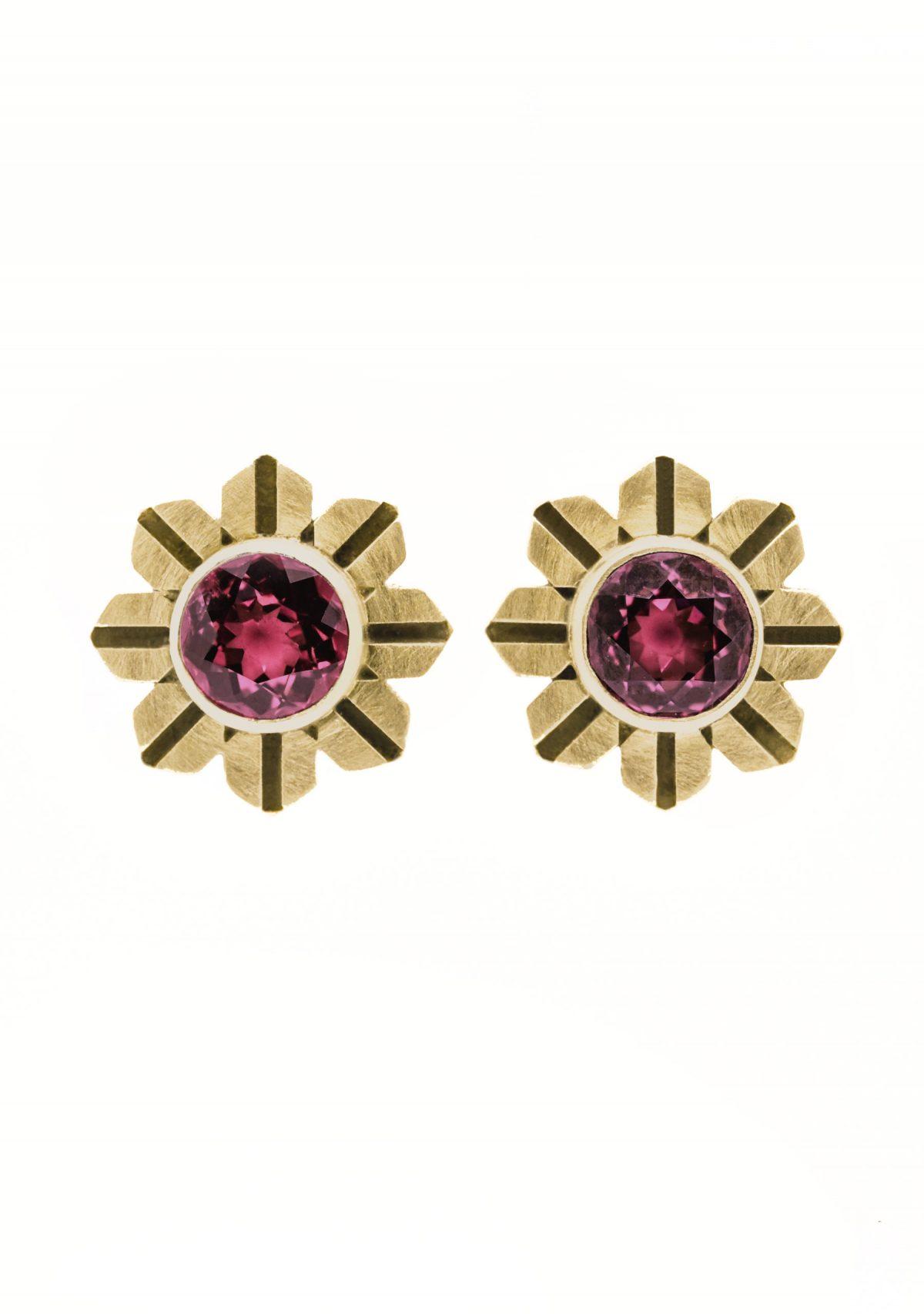 Art Deco Flower Garnet 14k Gold Earrings