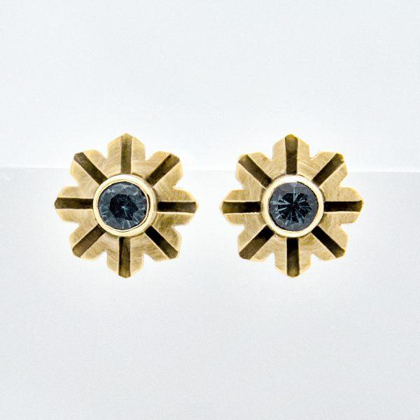 Art Deco Flower 14k Gold Earrings