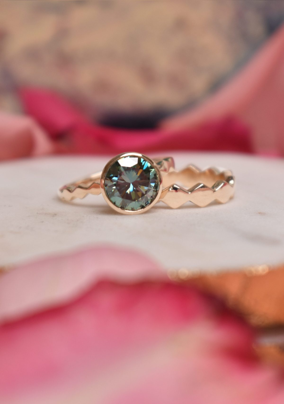 14k Yellow Gold Green Moissanite Engagement Ring and Matching Band