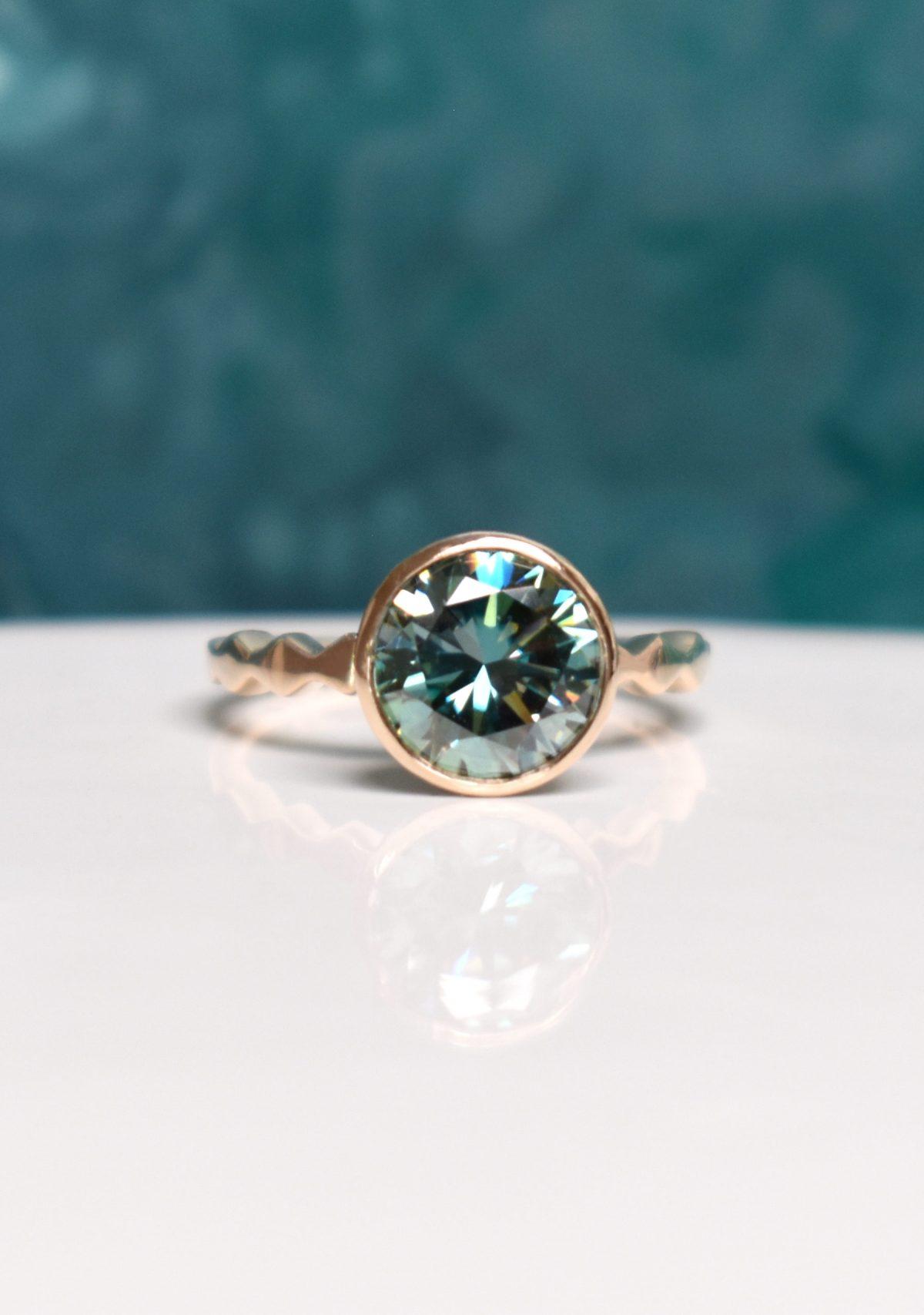 14k Yellow Gold Green Moissanite Engagement Ring