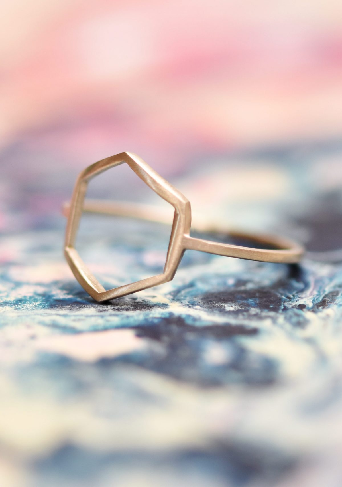 Hexagon Geometric 10k Gold Ring
