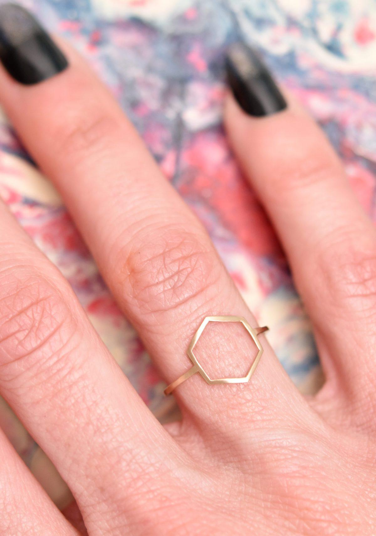 Hexagon Geometric 10k Yellow Gold Ring