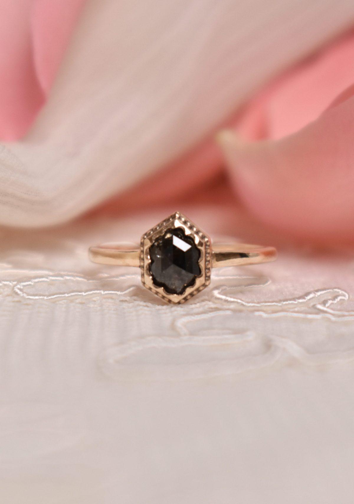 14k Yellow Gold Hexagon Salt and Pepper Engagement Ring