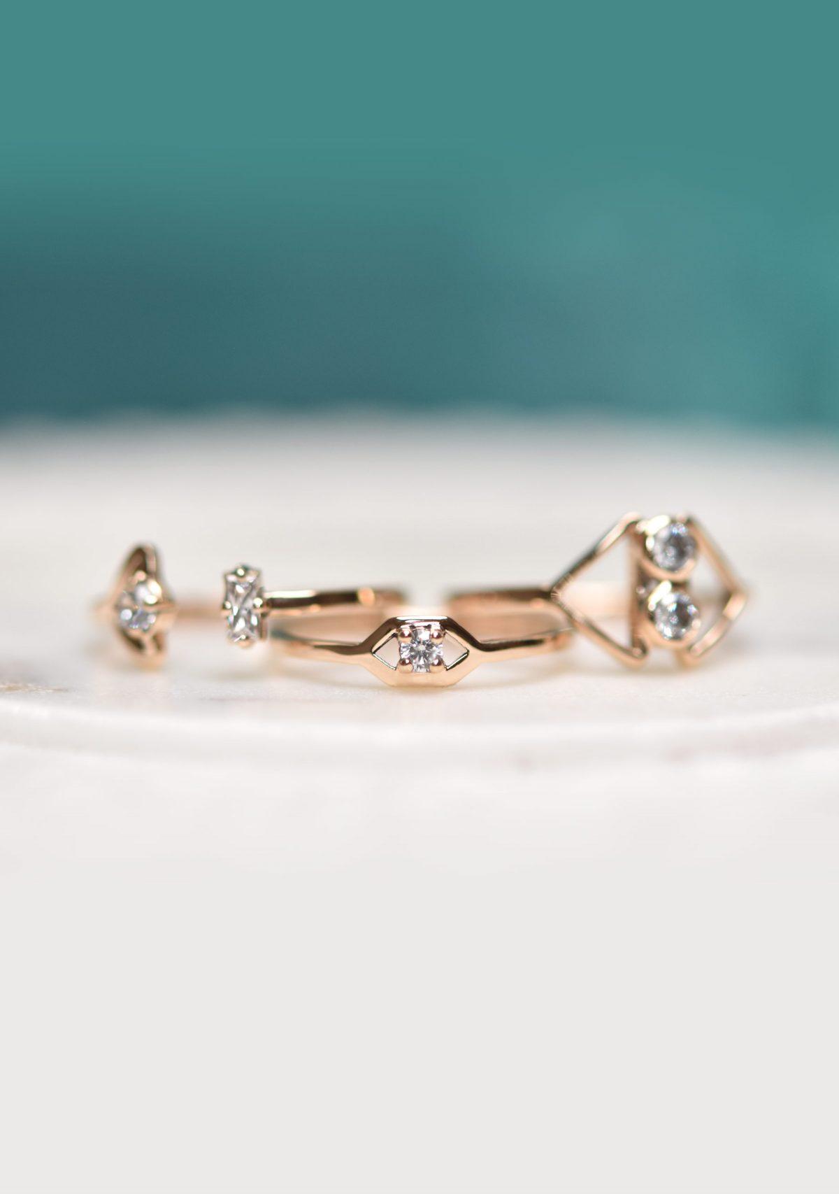 10k Gold Diamond Stacking Rings