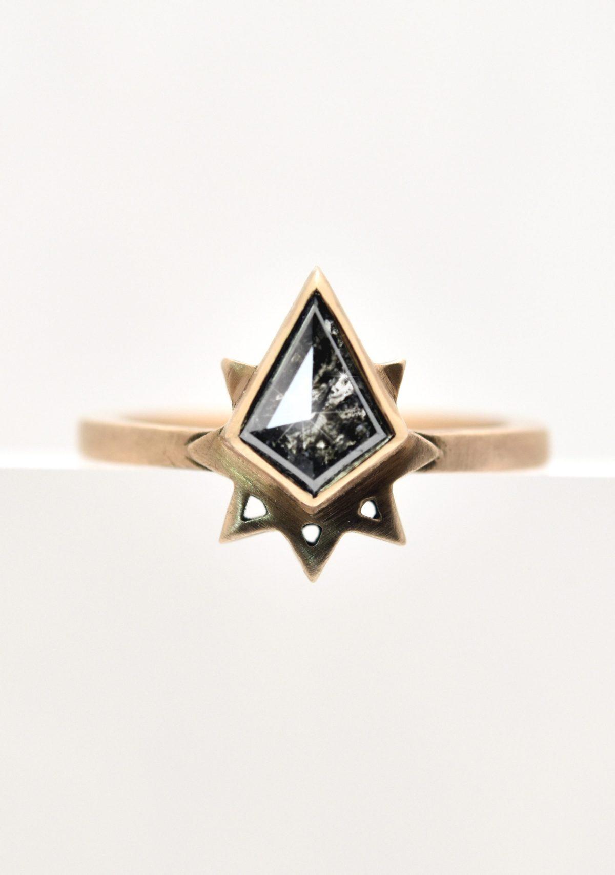 Kite Shape Salt and Pepper Custom Engagement Ring