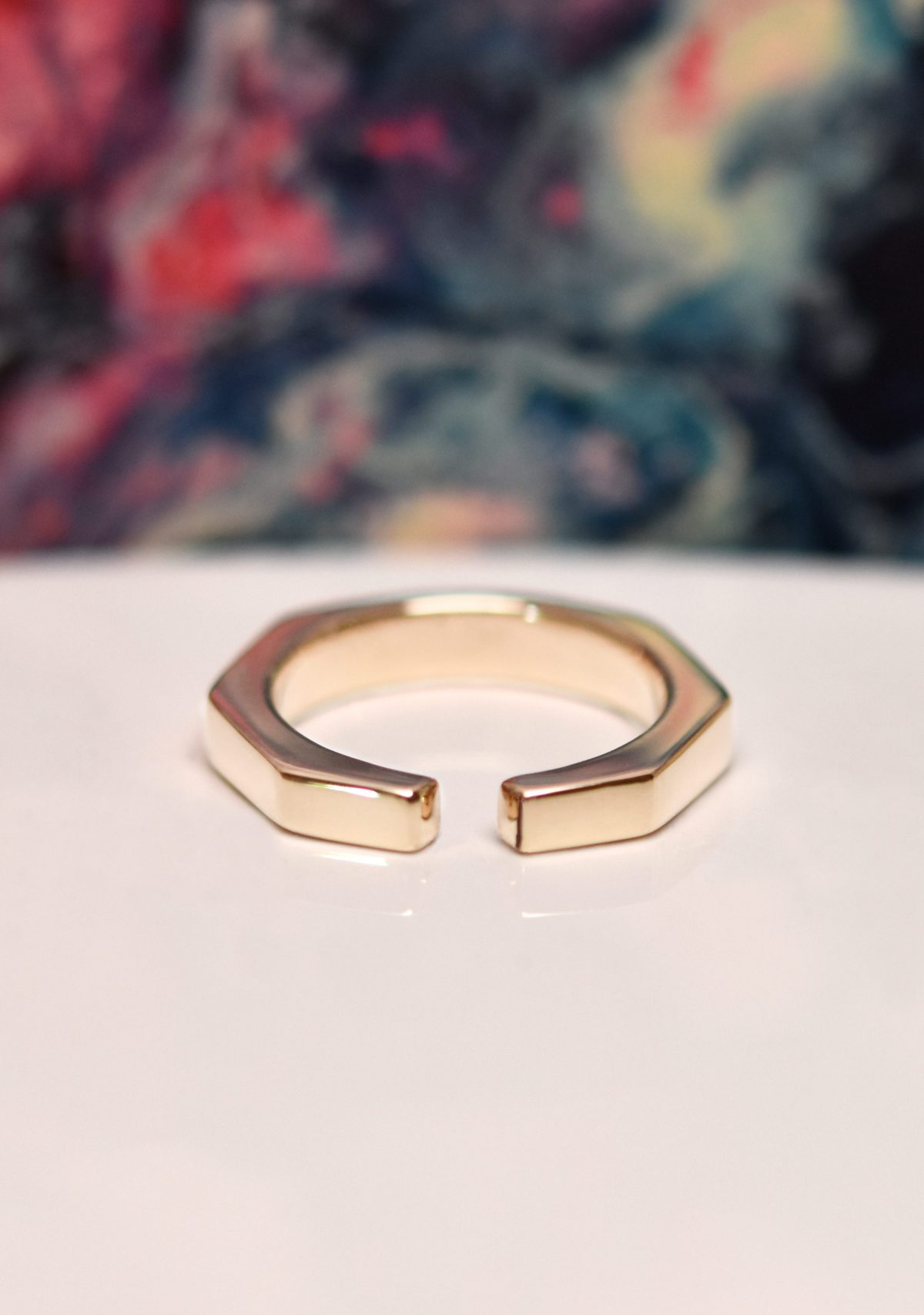 Open Band Geometric 10k Gold Ring