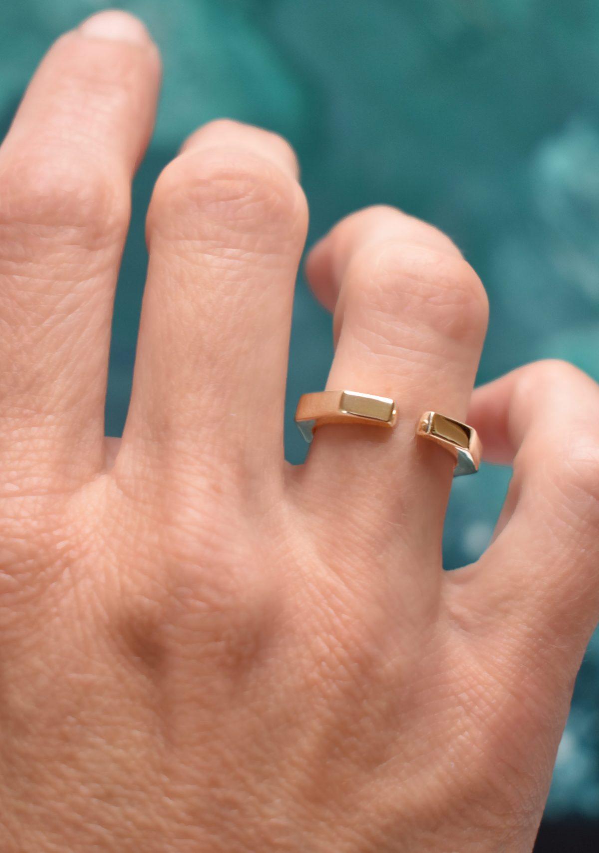 Geometric 10k Gold Ring Open Band