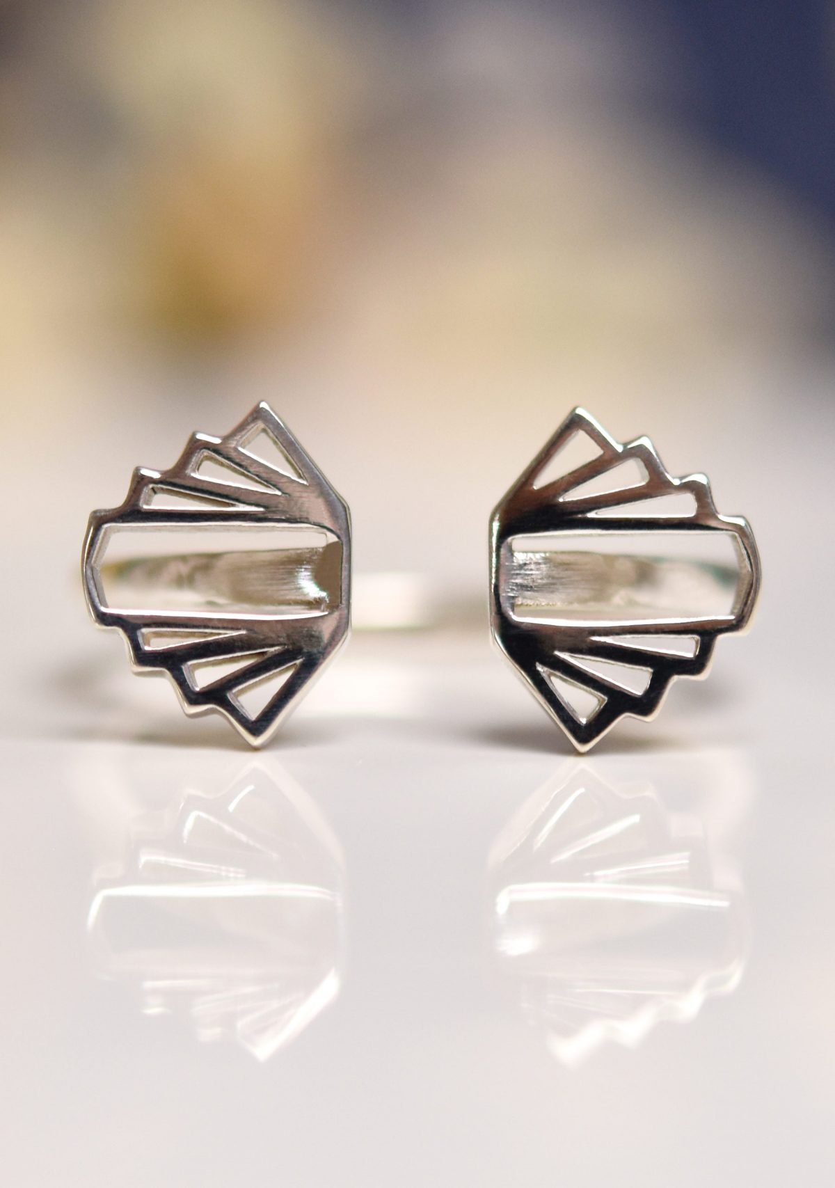 Open Art Deco Sterling Silver Ring