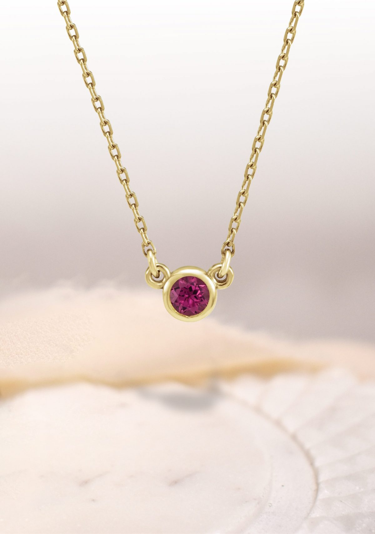 ClClarette Bezel Set Birthstone Necklace