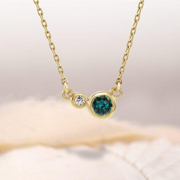 Gillie Birthstone and Diamond Bezel Necklace 14k
