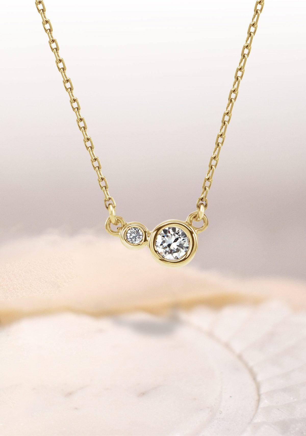 Gillie Diamond Bezel Necklace 14k