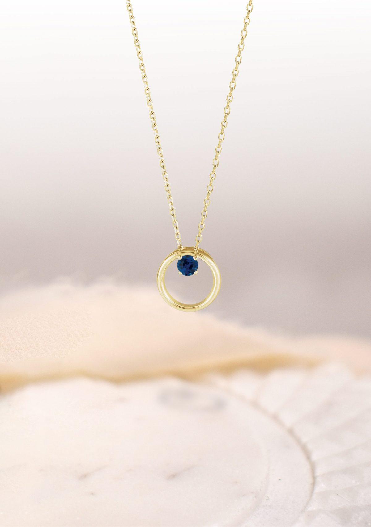 Phebe Birthstone Necklace 14k