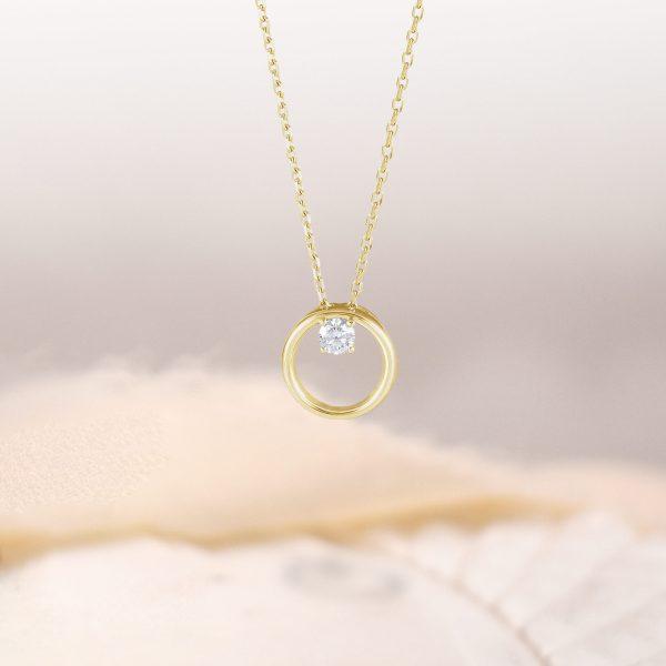 Phebe Diamond Circle Necklace