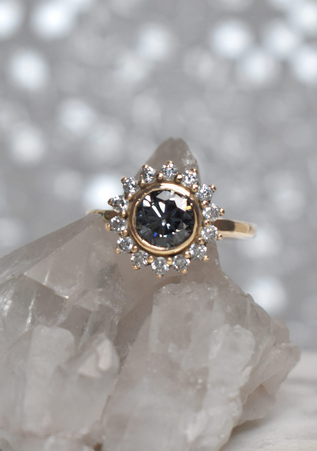 Saint K Rita Ring 14k Gold Gray Moissanite Engagement Ring