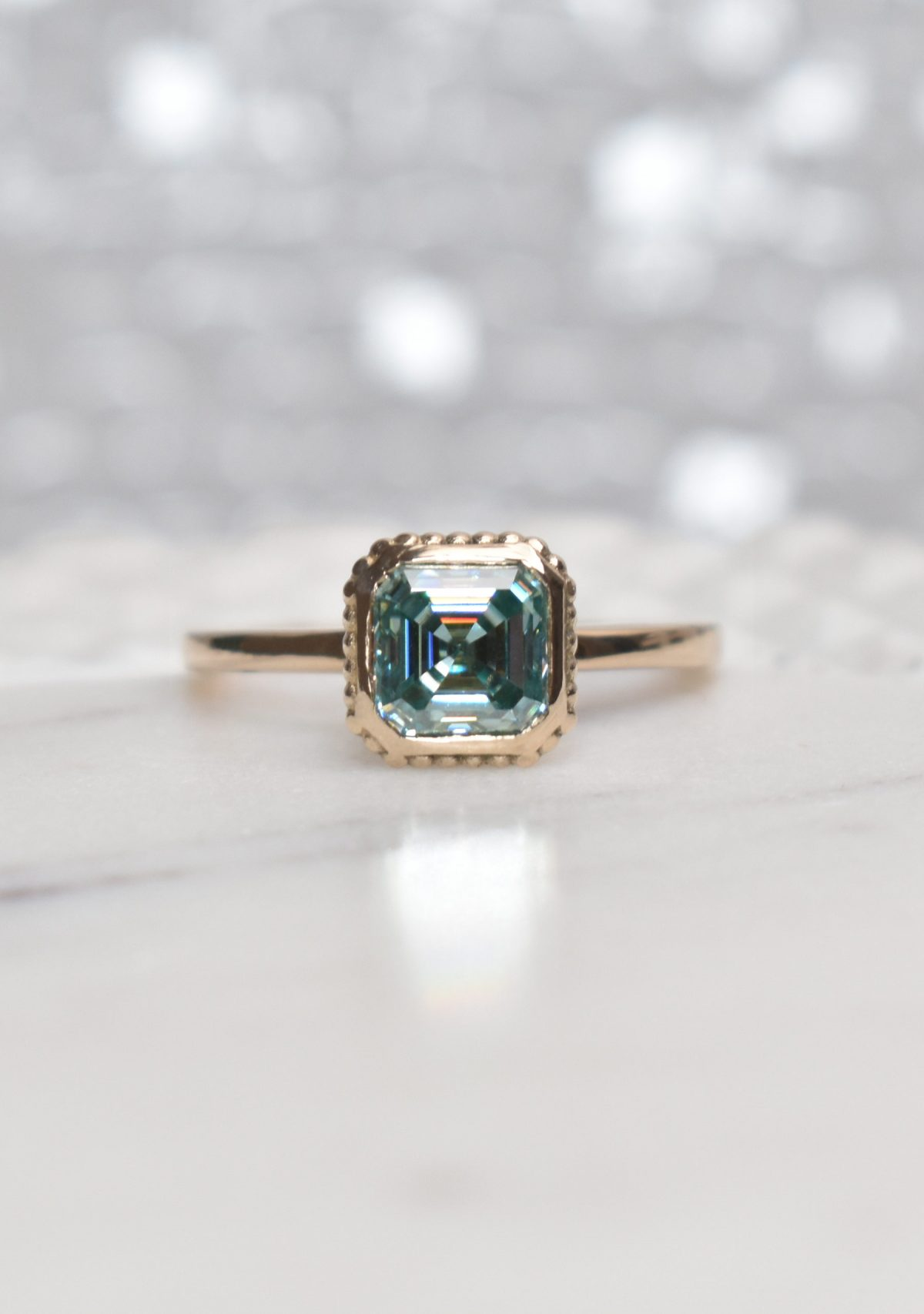 Saint K Asscher Cut Green Moissanite Gold Engagement Ring