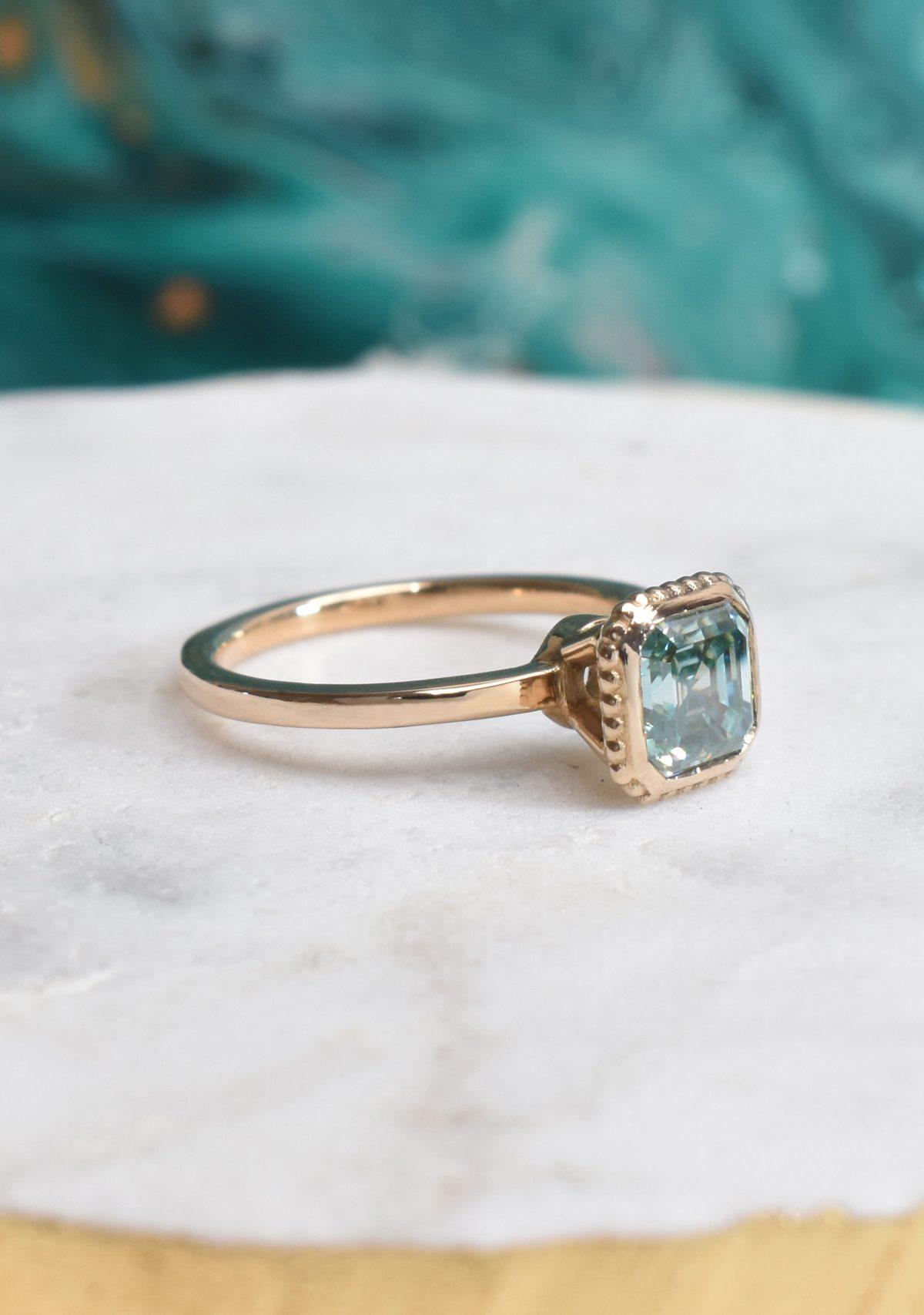 Saint K Asscher Cut Green Moissanite Gold Engagement Ring in 14k Gold