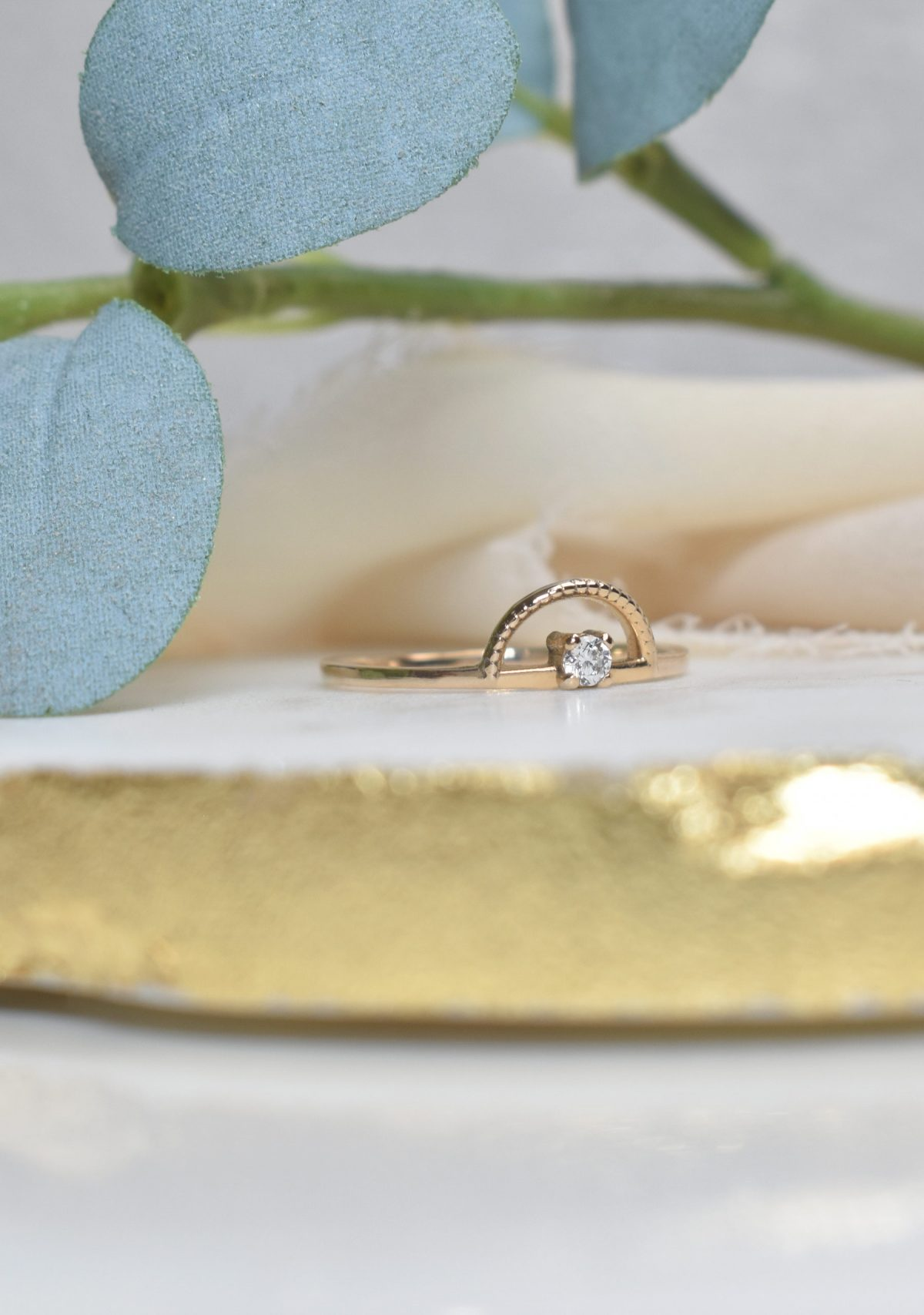 Saint K Halo Diamond Stacking 14k Gold Ring