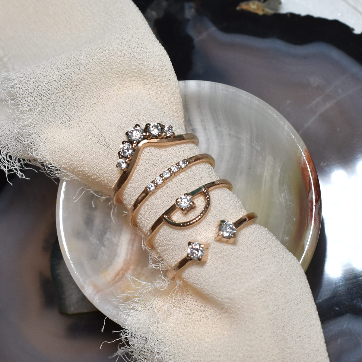 Saint K Stacking Rings in Diamonds and 14k Gold
