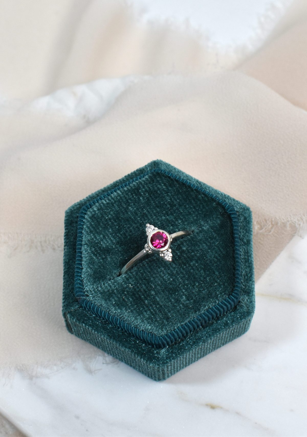 Saint K Ruby and Diamond Ring in White Gold