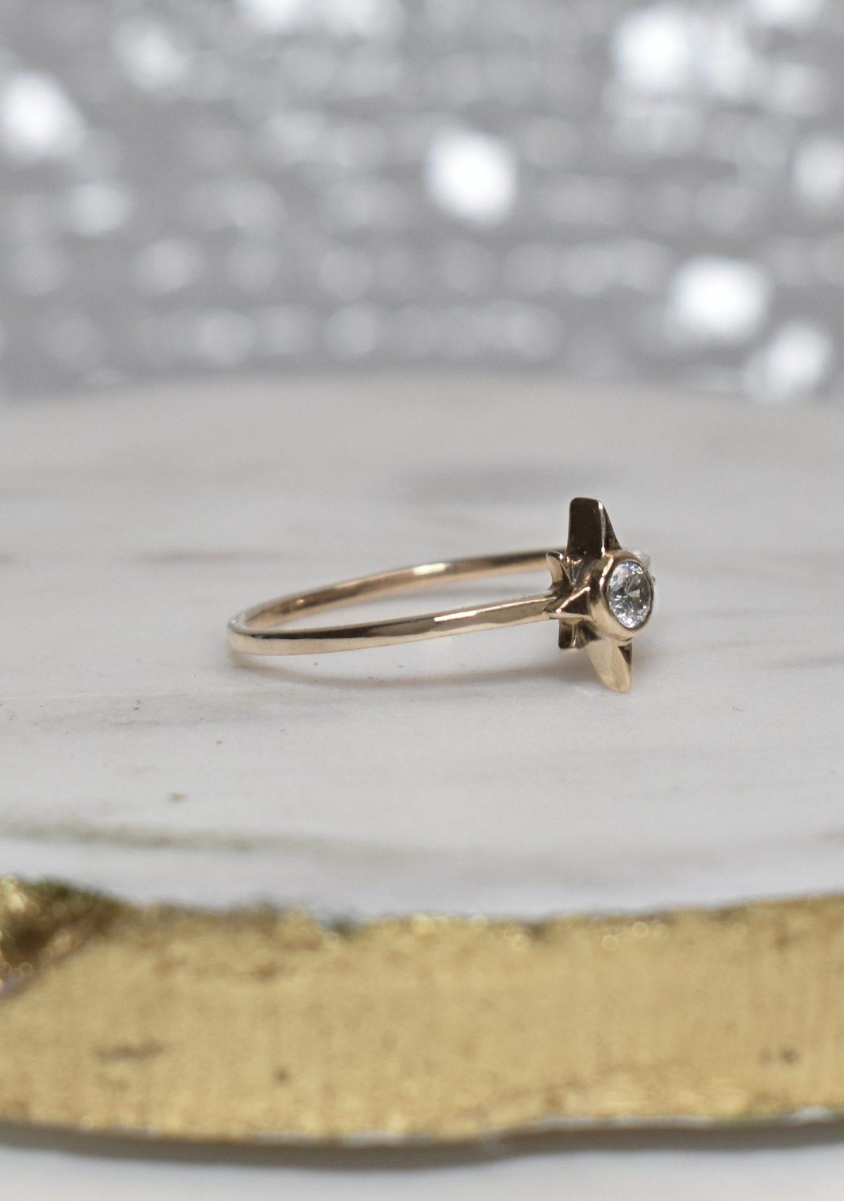 Saint K Celestia Gold Diamond Star Ring