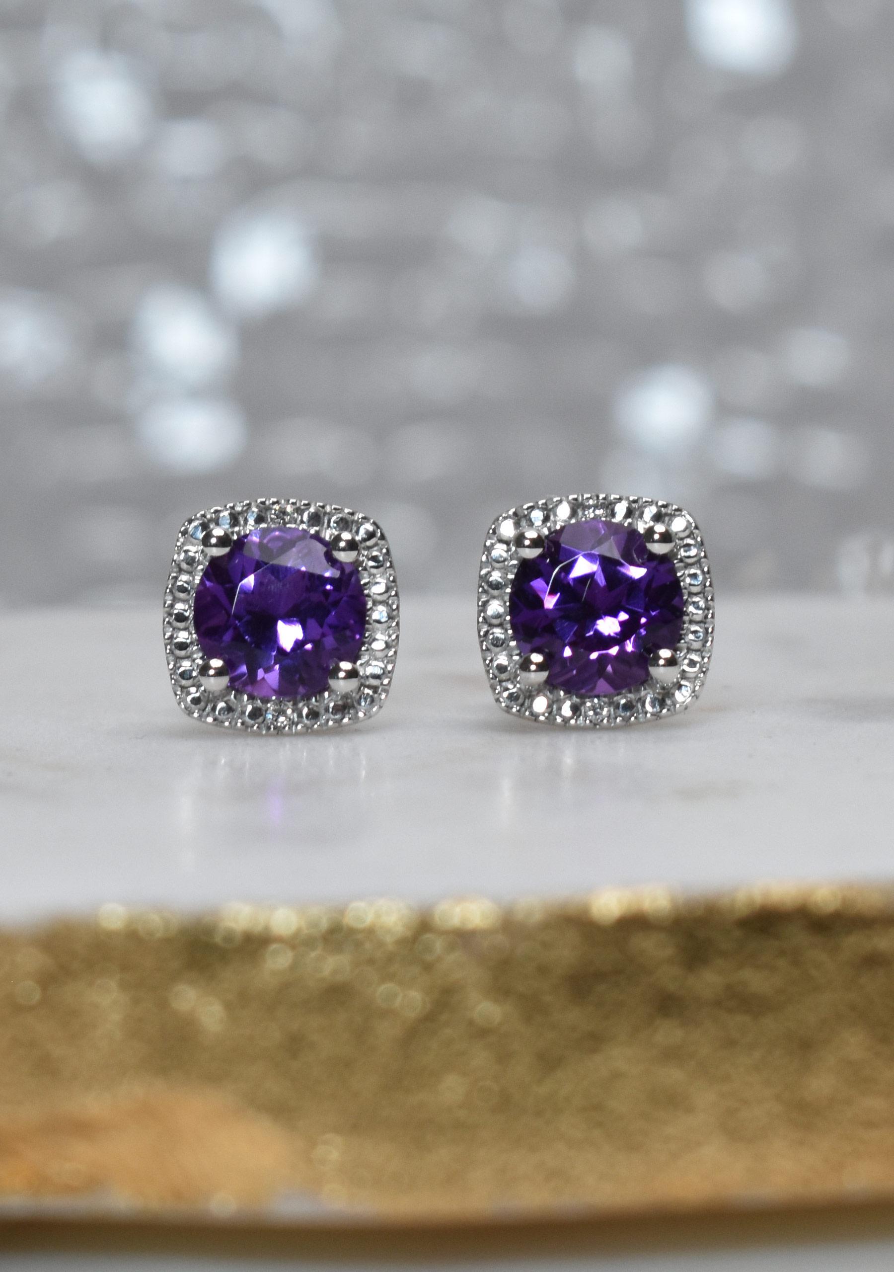 Amethyst Cushion Diamond Earrings in Sterling Silver