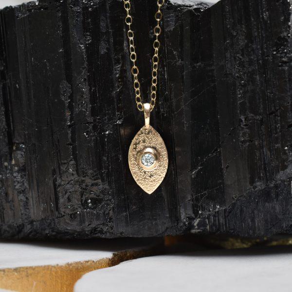 Diamond Leaf Pendant 14K Gold Adjustable Chain