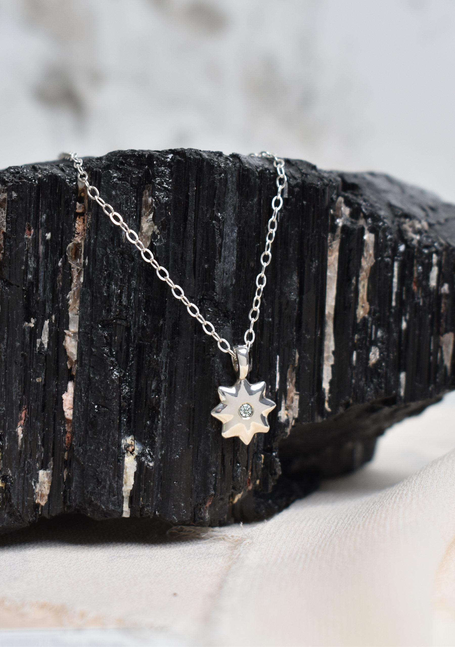 Sterling Silver Diamond Star Pendant Necklace
