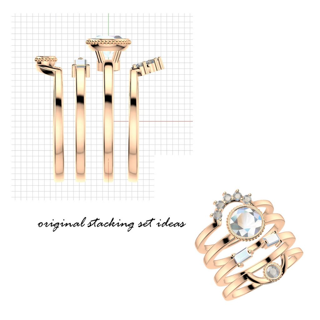redesigned engagement ring rose gold stacking set concepts