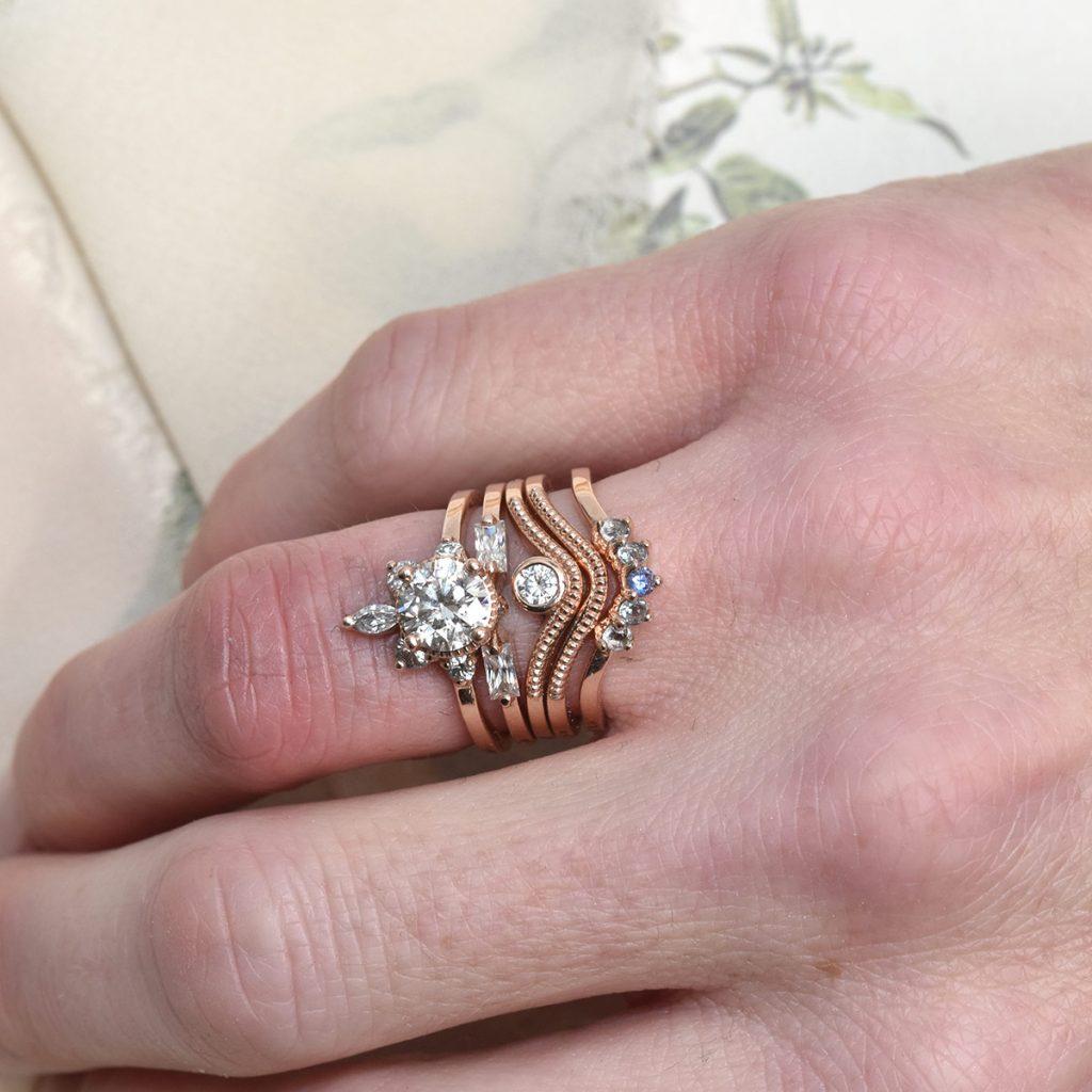 redesigned engagement ring rose gold stacking set