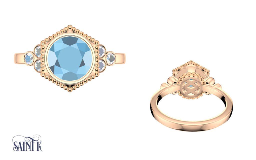 Green Moissanite Custom Engagement Ring CAD Design